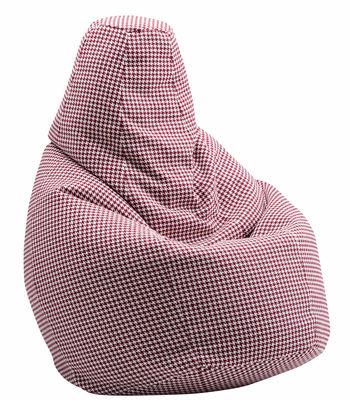 Mobilier - Poufs - Pouf Sacco / Tissu Pied-de-poule - L 80 x H 68 cm - Zanotta - Bordeau - Billes de polystyrène, Tissu