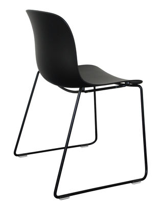 Furniture - Chairs - Troy Outdoor Stacking chair - Polypropylene seat - Sled feet by Magis - Black hull / Black structure - Polypropylene, Varnished steel