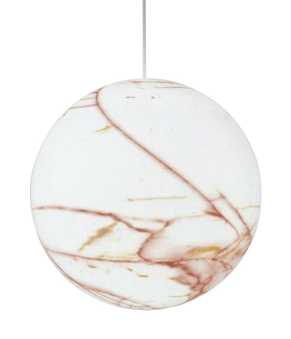 Luminaire - Suspensions - Suspension Mineral Medium / Ø 40 cm - Plastique effet marbre - Slide - Ambre - Polyéthylène