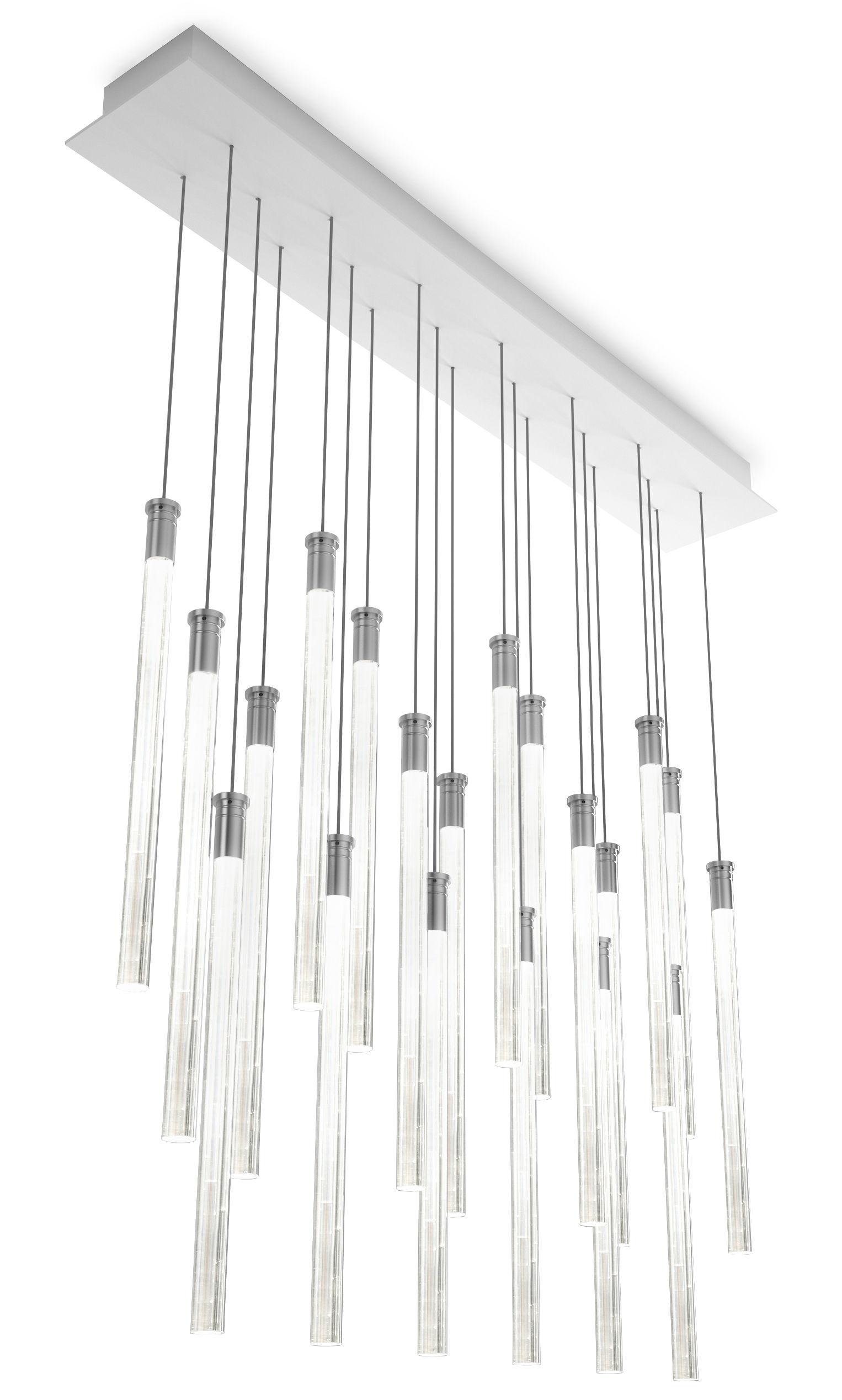 Luminaire - Suspensions - Suspension Multispot Tooby LED / 20 éléments - Fabbian - Transparent - Verre borosilicaté