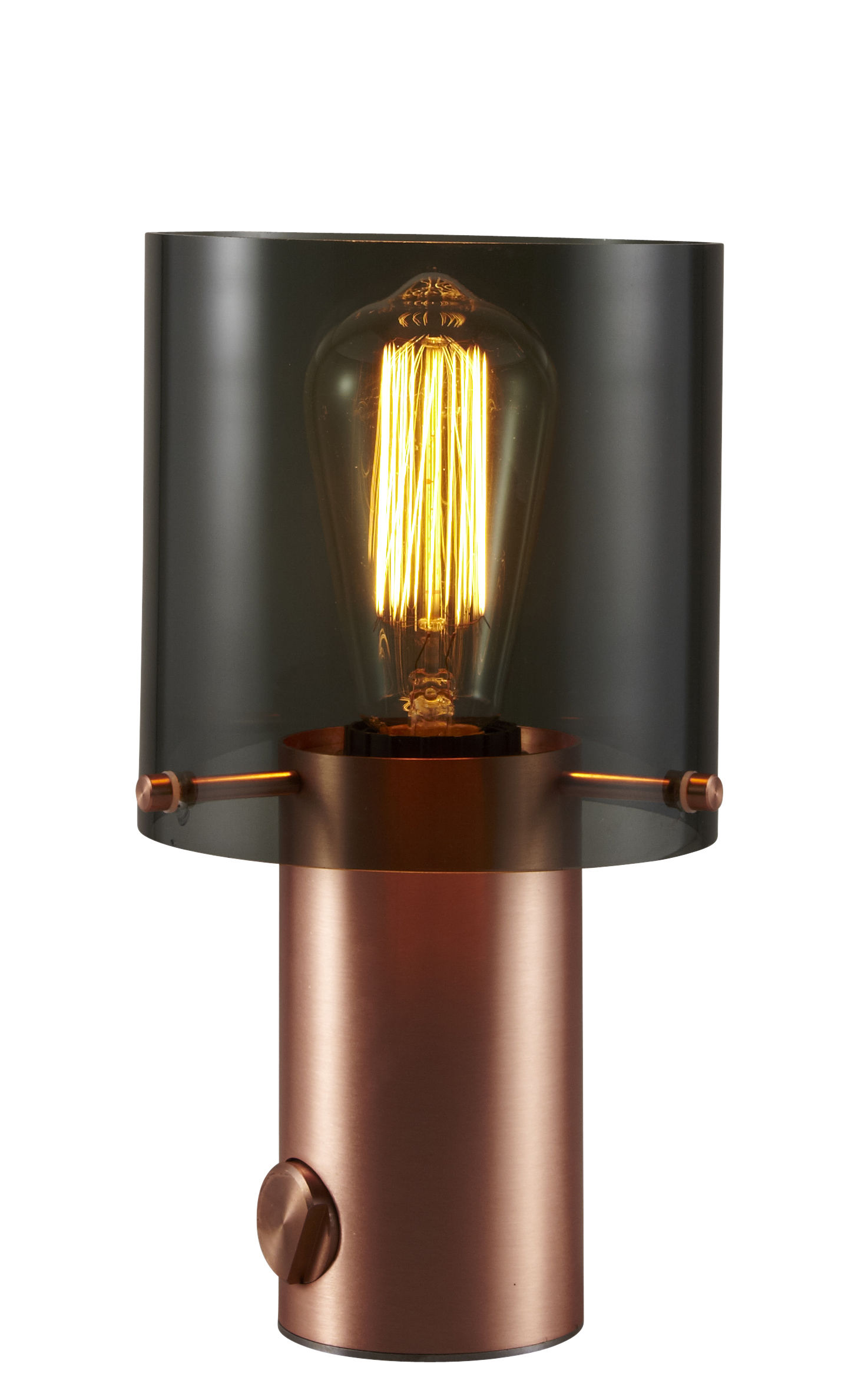 Lighting - Table Lamps - Walter 1 Table lamp - H 27 cm - Dimmer by Original BTC - Anthracite glass & Copper - Glass, Satined copper