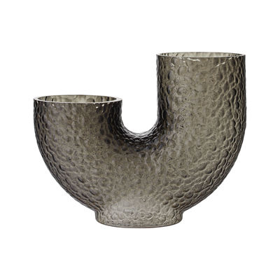 Decoration - Vases - Arura Medium Vase - / Textured glass - L 34 x H 26 cm by AYTM - H 26 cm / Grey - Mouth blown glass