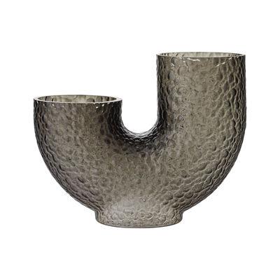 Interni - Vasi - Vaso Arura Medium - / Vetro testurizzato - L 34 x H 26 cm di AYTM - H 26 cm / Grigio - Vetro soffiato a bocca