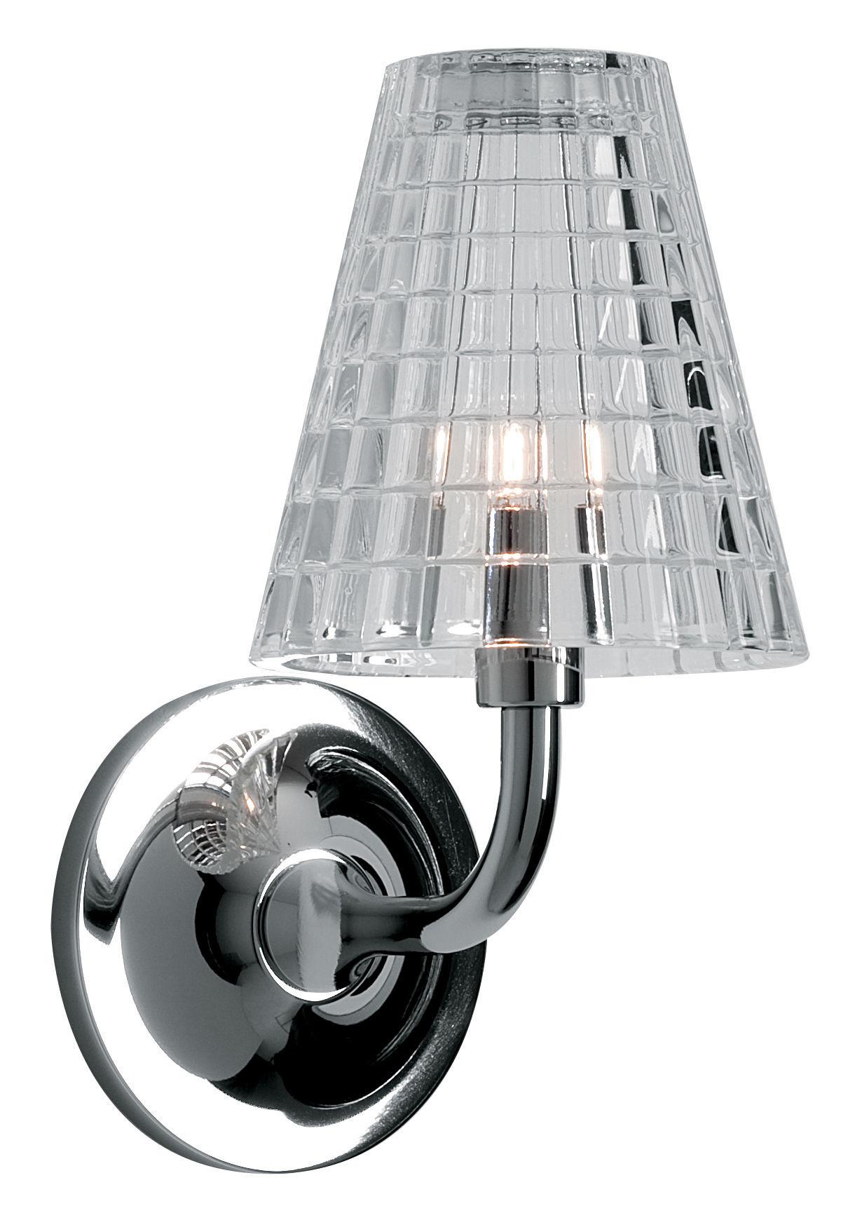 Lighting - Wall Lights - Flow Wall light by Fabbian - Transparent - Chromed metal, Glass