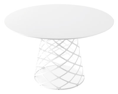 Furniture - Dining Tables - Aoyama Table ronde - Ø 120 cm by Gubi - White - Laminate, Stainless steel