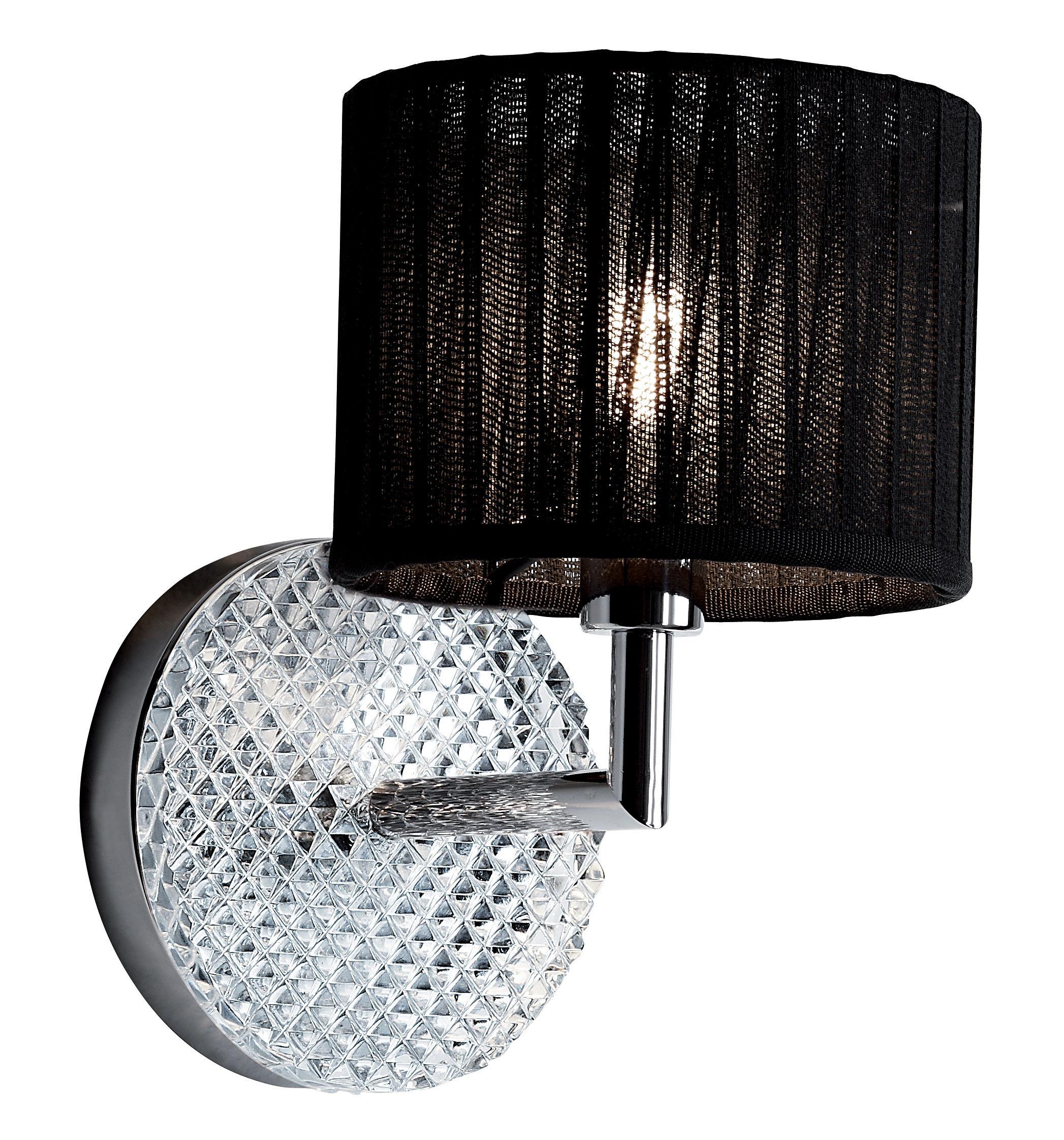 Luminaire - Appliques - Applique Diamond Swirl - Fabbian - Noir - Métal chromé, Organdi, Verre