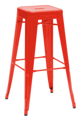 Furniture - Bar Stools - H Bar stool - H 75 cm - Glossy color by Tolix - Red - Lacquered recycled steel