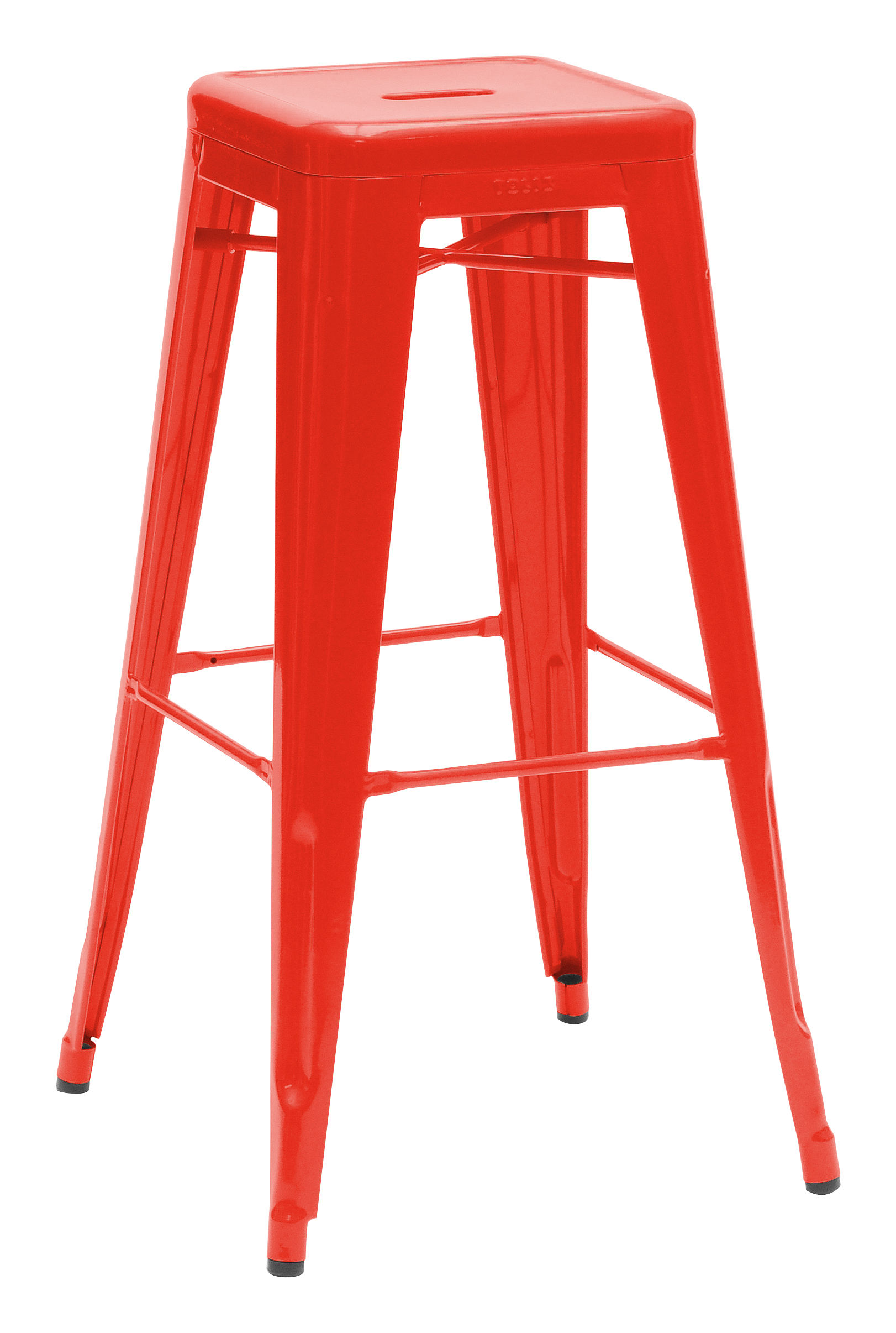 Furniture - Bar Stools - H Bar stool - H 75 cm - Glossy color by Tolix - Red - Lacquered steel