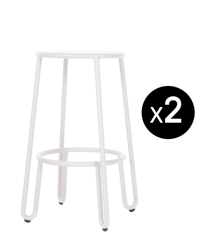 Furniture - Bar Stools - Huggy Bar stool - / H 65 cm - Set of 2 by Maiori - White - Lacquered aluminium