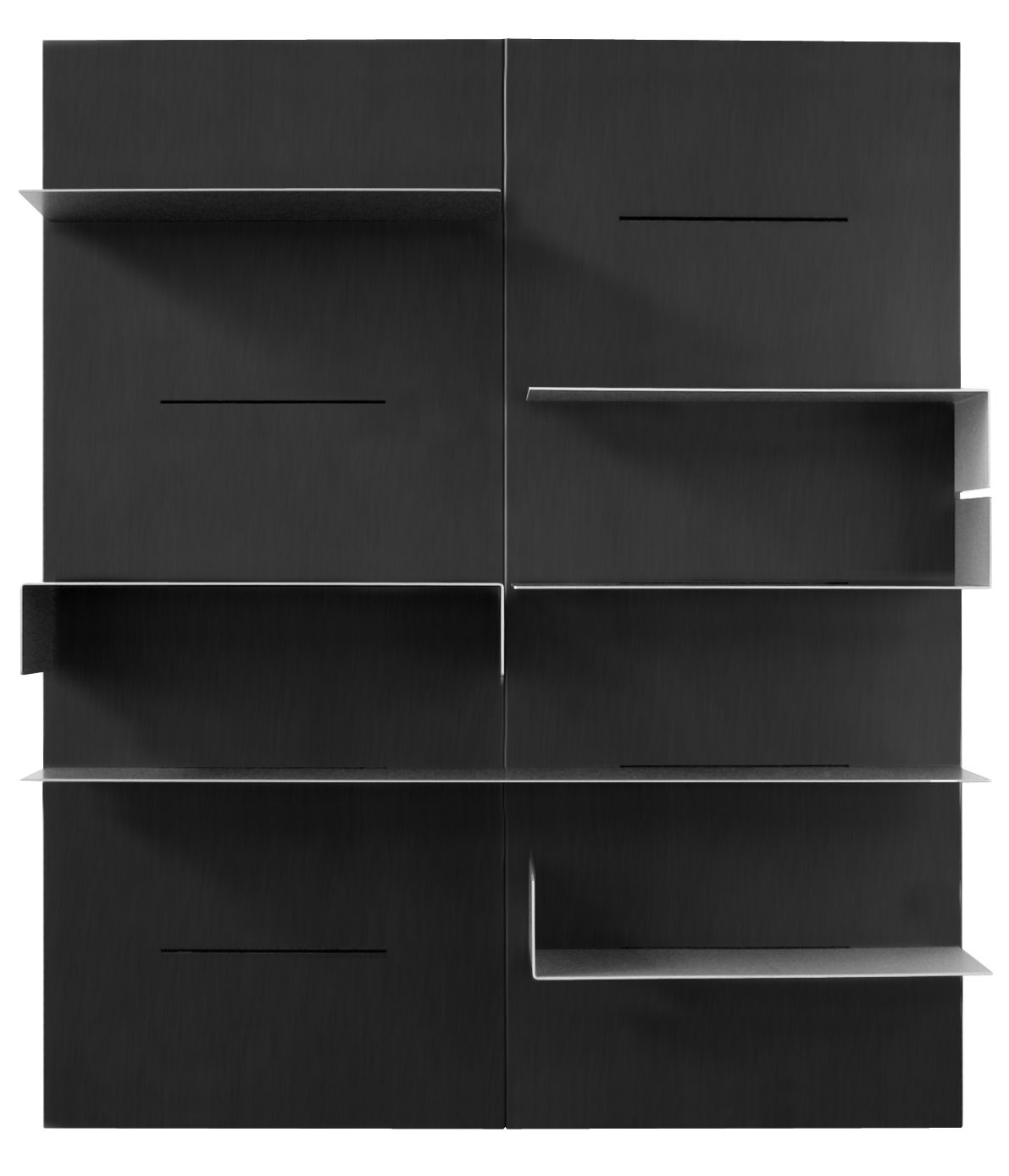 Furniture - Bookcases & Bookshelves - iWall Bookcase - composition with 2 boards - L 160 x H 190 cm by Zeus - Black - Phosphated steel