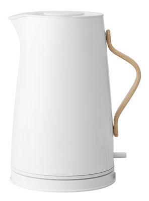 Cuisine - Electroménager - Bouilloire électrique Emma / 1,2 L - Stelton - Blanc & bois - Acier inoxydable laqué, Hêtre