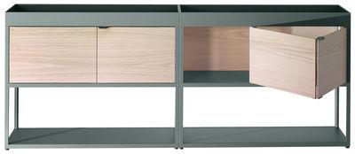 Mobilier - Commodes, buffets & armoires - Buffet New Order / L 200 cm x H 79,5 cm - Hay - Vert /  Caissons chêne naturel - Aluminium peint, Chêne naturel