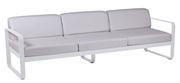 Canapé droit Bellevie 3 places L 235 cm Tissu blanc Fermob blanc grisé,blanc coton en métal