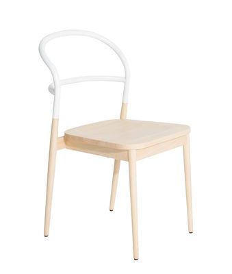 Chaise Dojo / Hêtre & acier - Petite Friture blanc/bois naturel en métal/bois