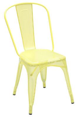 Mobilier - Chaises, fauteuils de salle à manger - Chaise empilable A perforée / Acier inox - Intérieur/extérieur - Tolix - Jaune souffre (brillant) - Acier inoxydable laqué époxy