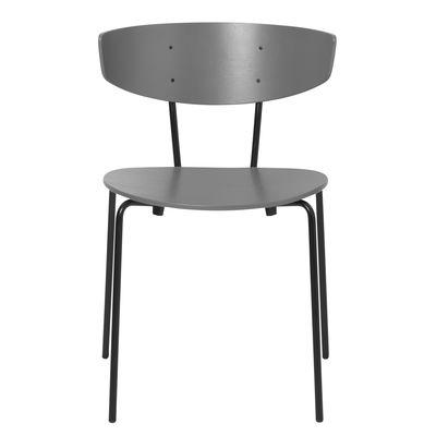 Chaise empilable Herman / Bois & métal - Ferm Living gris en bois