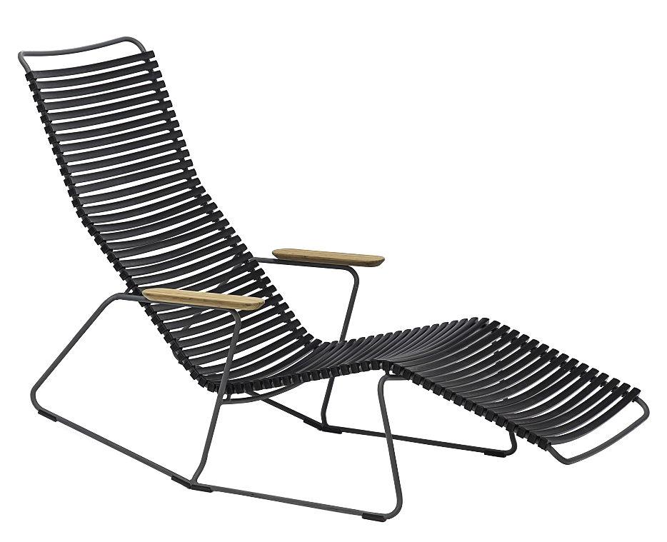 Outdoor - Sedie e Amache - Sedia a sdraio Click / Plastica & braccioli bambù - Houe - Nero - Bambù, Materiale plastico, Metallo