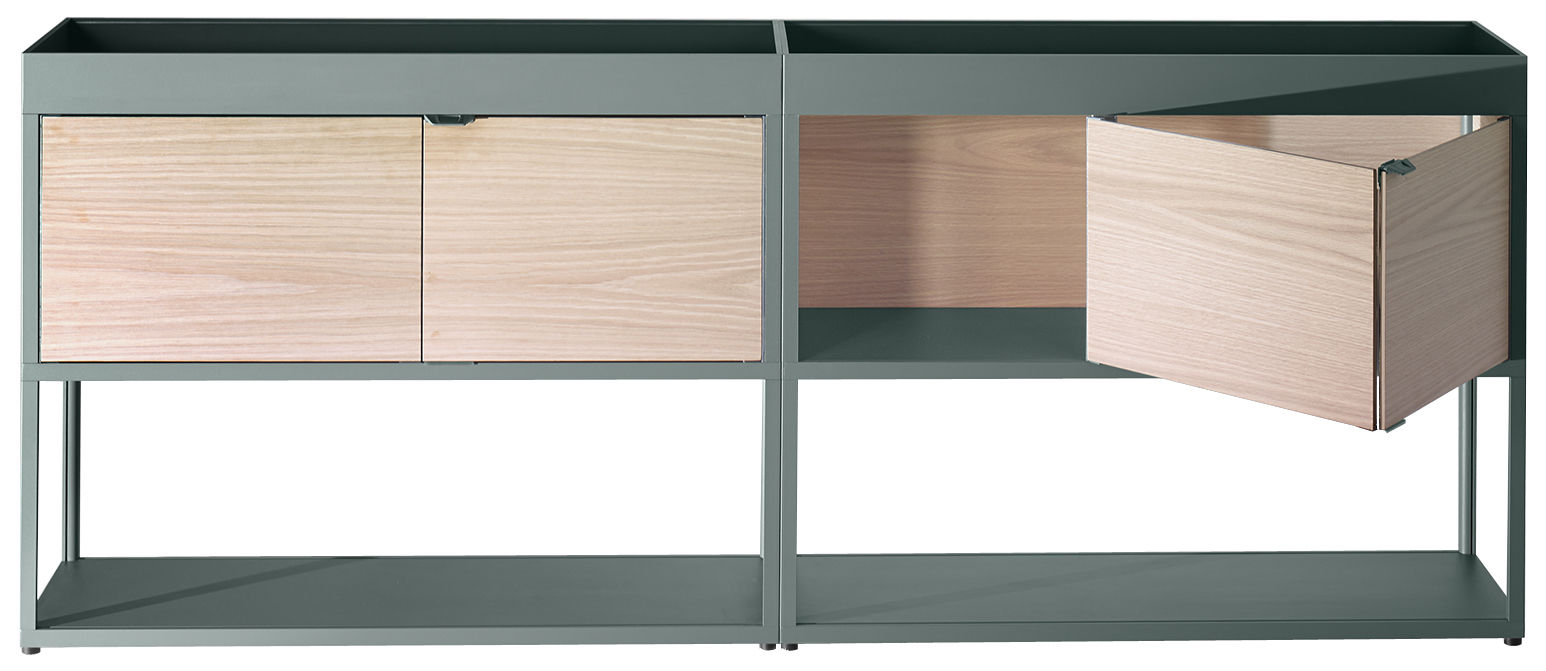 Furniture - Dressers & Storage Units - New Order Dresser by Hay - Green / Natural oak doors - Natural oak, Painted aluminium