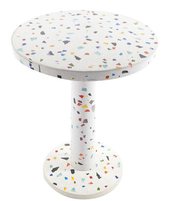 Furniture - Coffee Tables - Kyoto End table by Memphis Milano - Multicolored - Chromed metal, concrete, Glass