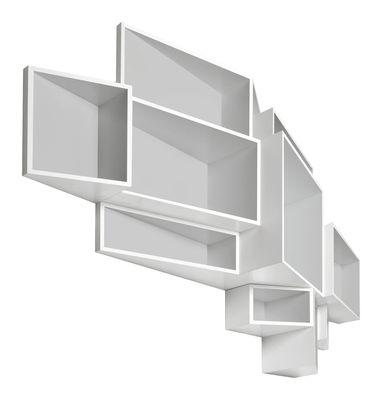 Mobilier - Etagères & bibliothèques - Etagère SheLLf /Modèle Large Bicolore - Kristalia - l 205 x H 122 cm - Ext blanc / Int gris - MDF laqué