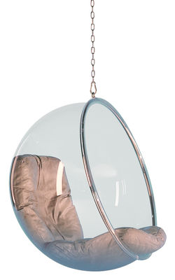 Mobilier - Mobilier Ados - Fauteuil suspendu Bubble Chair à suspendre - Adelta - Transparent - Coussins cuir silv - Acier chromé, Acrylique, Cuir