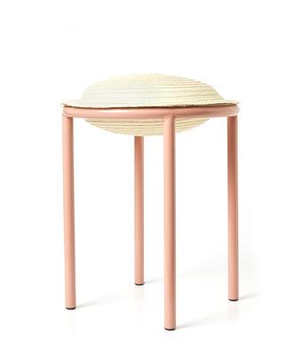 Möbel - Hocker - Cana Hocker / Rohrfaser - ames - Natur / Beine blassrosa - bemalter Stahl, Fibre deCaña Flecha