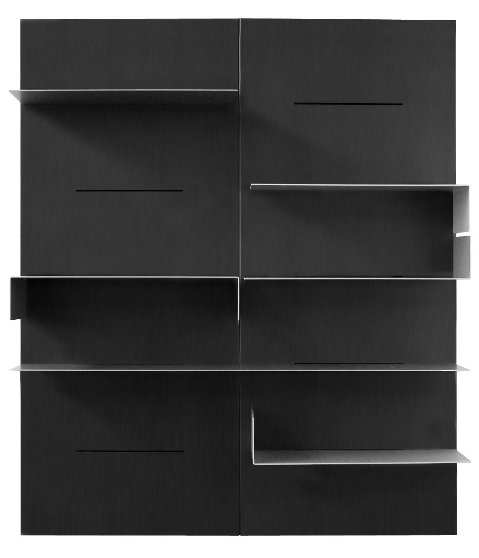 Arredamento - Scaffali e librerie - Libreria iWall - composizione 2 pannelli - L 160 x H 190 cm di Zeus - Nero - Acciaio fosfatato