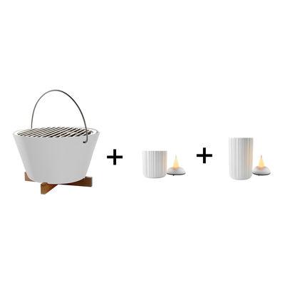 Jardin - Barbecues et braséros - Pack promo /  Barbecue portable à charbon + 2 photophores LED H 9 & H 13 cm - Eva Solo - Blanc - Acier inoxydable, Porcelaine