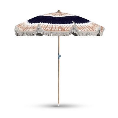 Jardin - Parasols - Parasol Oia / Inclinable - Ø 200 cm - PÔDEVACHE - Tie & dye / Dégradé beige & bleu - Aluminium laqué, Toile polyester