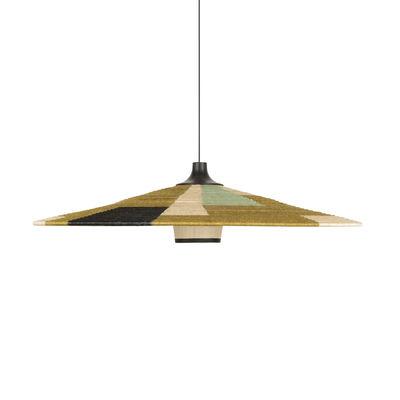 Lighting - Pendant Lighting - Parrot XL Pendant - / Ø 100 x H 24 cm - Hand-braided abaca by Forestier - Green - Abaca, Oak