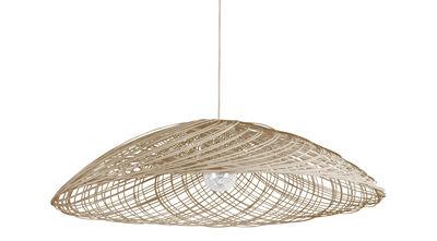 Lighting - Pendant Lighting - Satélise S Pendant - Rattan - Ø 45 cm by Forestier - Natural - Fabric, Rattan