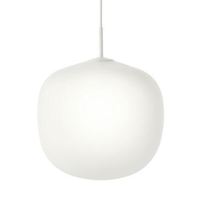 Leuchten - Pendelleuchten - Rime Pendelleuchte / Ø 45  - Mundgeblasenes Glas - Muuto - Oberteil weiß / Weiß - klarlackbeschichtetes Aluminium, mundgeblasenes Glas
