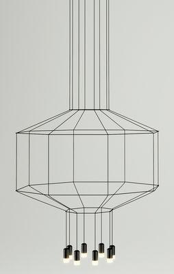 Leuchten - Pendelleuchten - Wireflow Pendelleuchte /  Ø 120 cm x H 62,5 cm - Vibia - Schwarz - Gewebe, Glas, lackiertes Metall, Teflon
