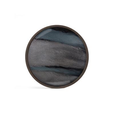 Plateau Graphite Organic / Ø 30 cm - Bois & verre peint main - Ethnicraft bleu en verre