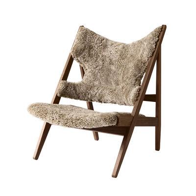 Arredamento - Poltrone design  - Poltrona Knitting - / Pelle di pecora di Menu - Torrone / Noce - Espanso, Noce massello, Pelle di montone