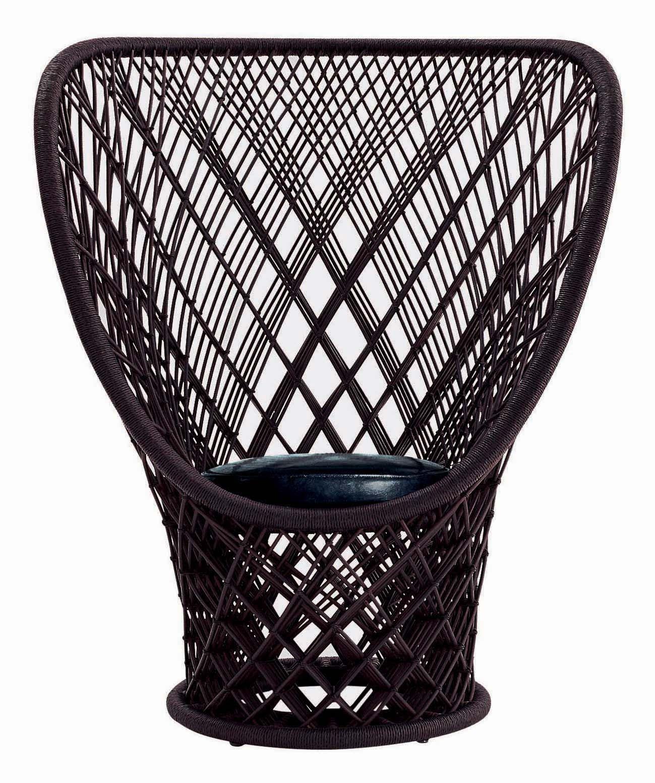 Arredamento - Poltrone design  - Poltrona Pavo Real di Driade - Marrone - Midollino, Pelle