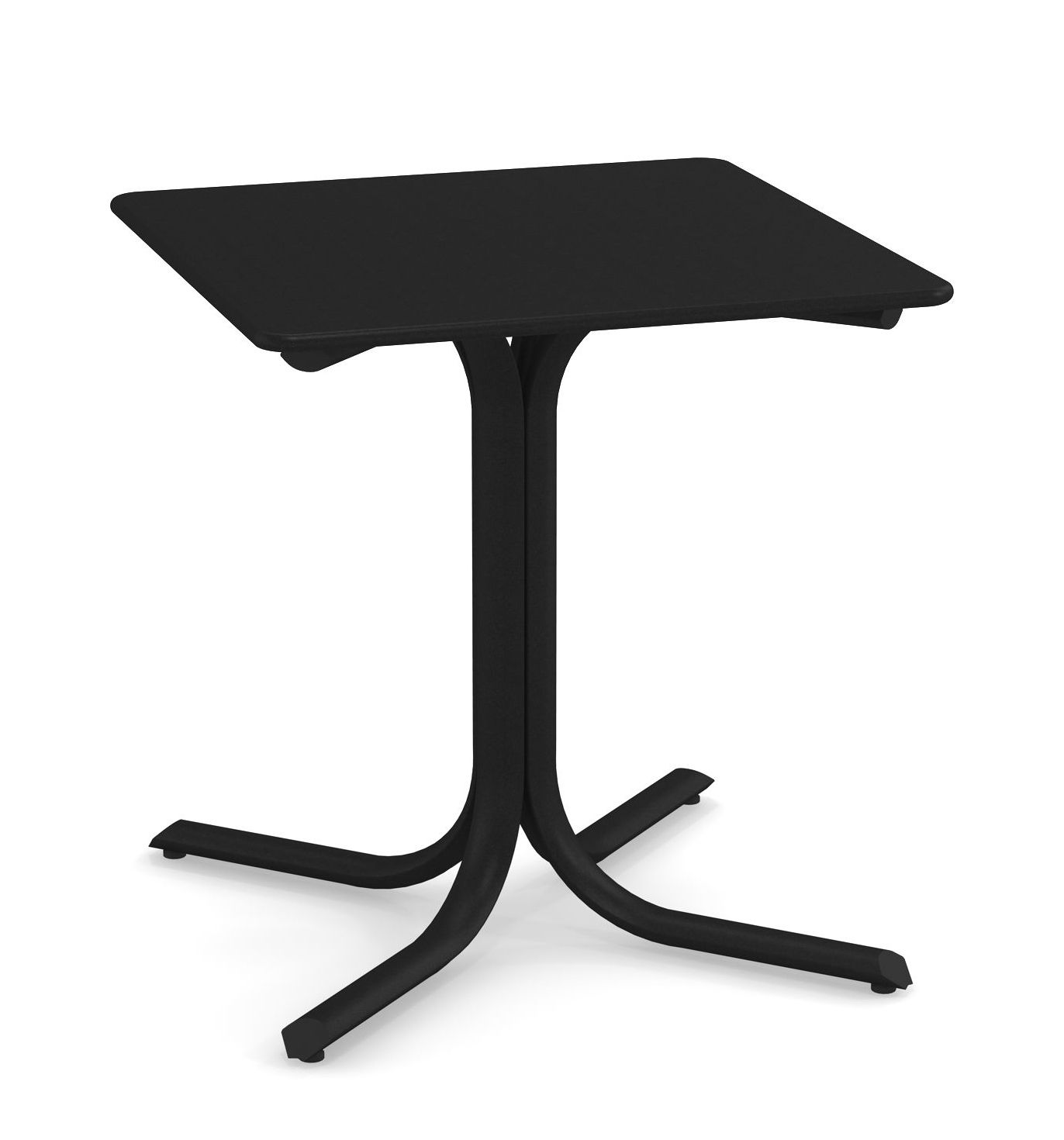 Outdoor - Tische - System quadratischer Tisch / 70 x 70 cm - Emu - Schwarz - Verzinkter lackierter Stahl