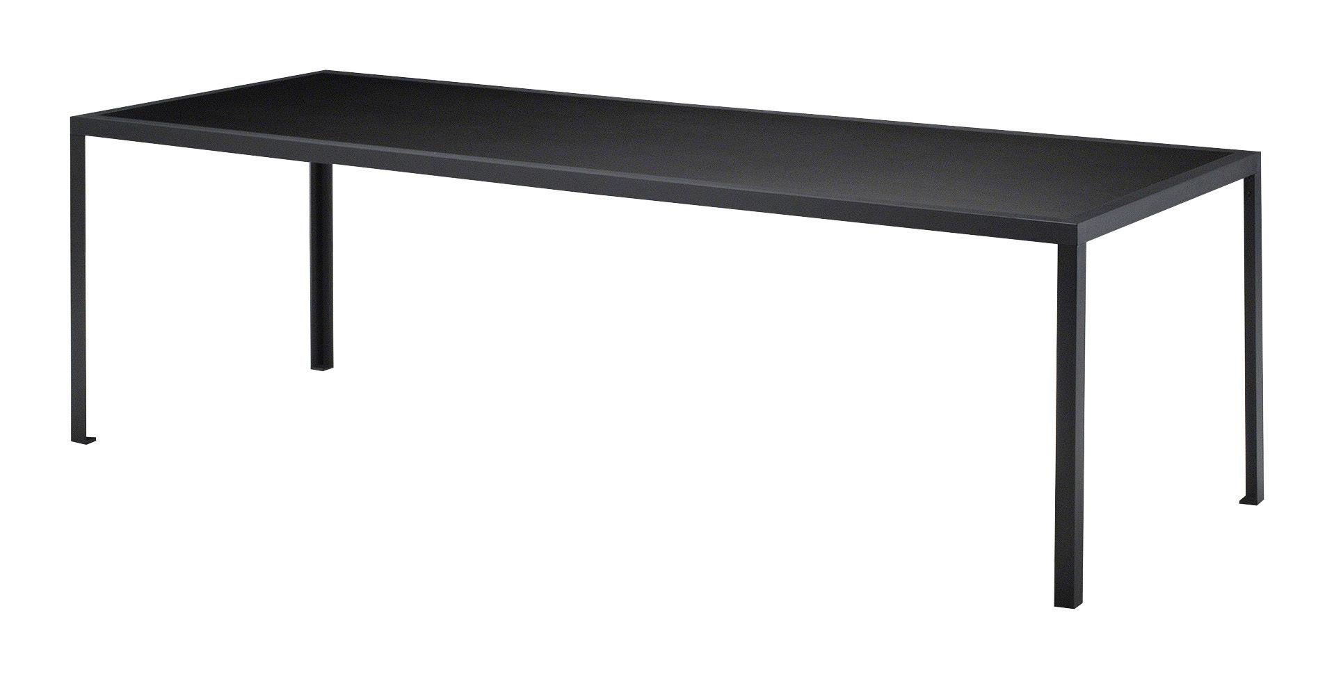 Möbel - Tische - Tavolo rechteckiger Tisch - rechteckig - L 180 cm - Zeus - Schwarz - 180 x 90 cm - bemalter Stahl, Linoleum