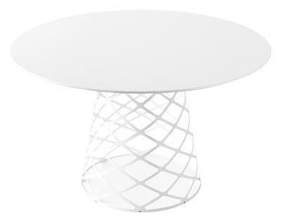 Möbel - Tische - Aoyama Runder Tisch Ø 120 cm - Gubi - Weiß - Laminat, rostfreier Stahl