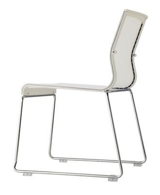 Image of Sedia impilabile Stick Chair - sedia a base fissa - Seduta a rete di ICF - Bianco,Metallo lucidato - Tessuto
