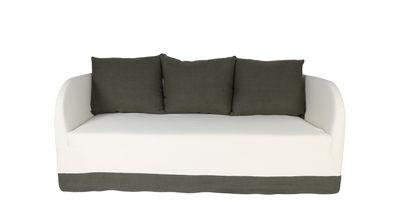 Möbel - Sofas - Riviera Sofa / 2-Sitzer - Leinen - Maison Sarah Lavoine - Klein / naturfarben & khaki - Buchenfurnier, Leinen, Plastik