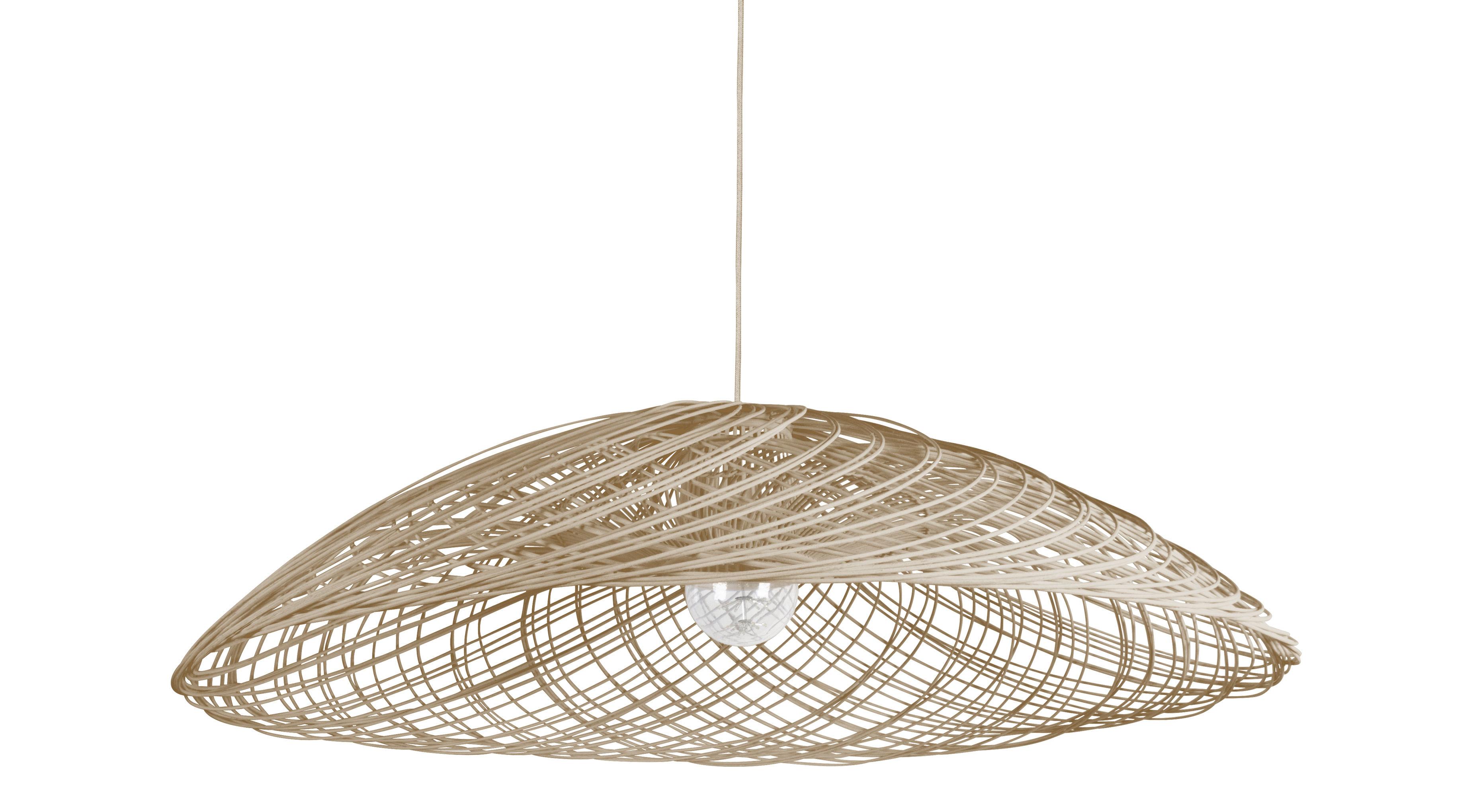Illuminazione - Lampadari - Sospensione Satélise S / rattan - Ø 45 cm - Forestier - Naturel - Midollino, Tessuto