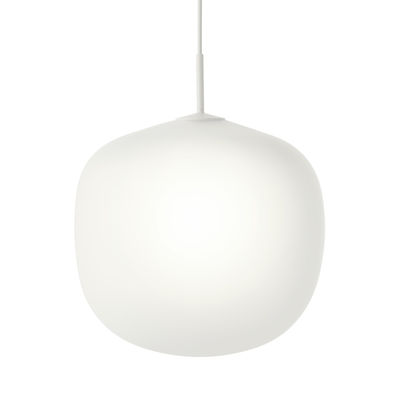 Luminaire - Suspensions - Suspension Rime / Ø 45  - Verre soufflé bouche - Muuto - Monture blanche / Blanc - Aluminium verni, Verre soufflé bouche