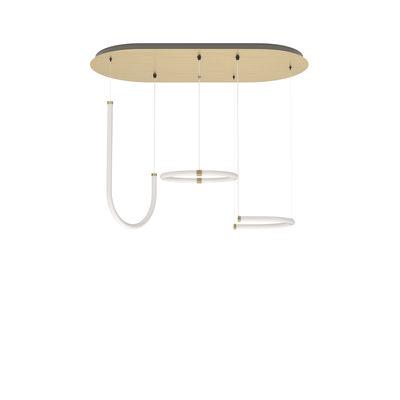 Luminaire - Suspensions - Suspension Unseen LED / 3 éléments - 100 x 53 cm - Petite Friture - Blanc & laiton - Laiton, Polycarbonate
