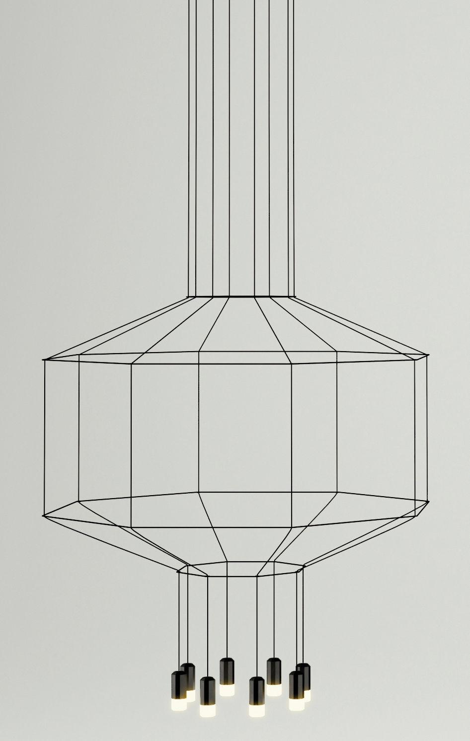 Luminaire - Suspensions - Suspension Wireflow /  Ø 120 cm x H 62,5 cm - Vibia - Noir - Métal laqué, Teflon, Tissu, Verre