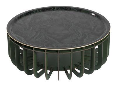 Table basse Medusa XL / Plateau amovible - Ø 65 cm - Ibride kaki en bois