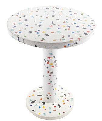 Mobilier - Tables basses - Table d'appoint Kyoto by Shiro Kuramata / 1983 - Memphis Milano - Multicolore - Ciment, Métal chromé, Verre