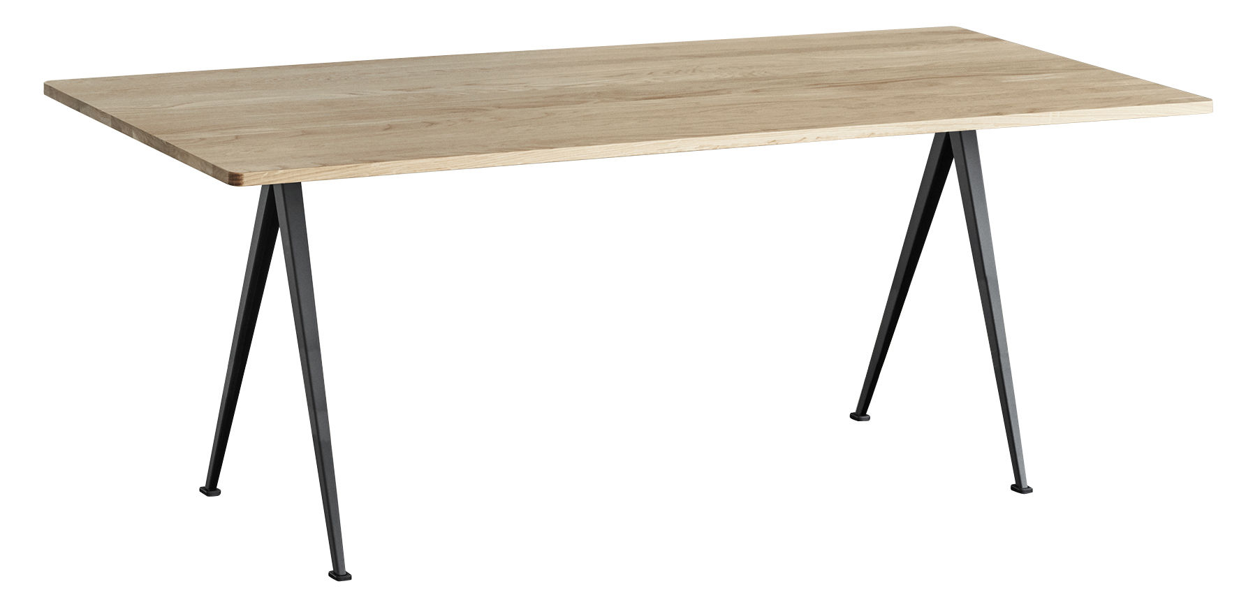 Furniture - Dining Tables - Pyramid n°02 Table - / 190 x 85 cm - Re-issue 1959 by Hay - 190 x 85 / Light oak & black - Lacquered steel, Oak