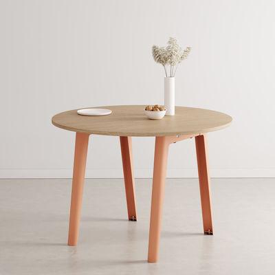 Table ronde New Modern / Ø 110 cm - Chêne éco-certifié / 4 à 6 personnes - TIPTOE rose en métal/bois