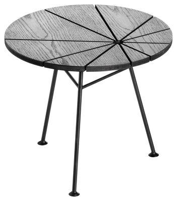 Arredamento - Tavolini  - Tavolino Bam Bam - Ø 50 cm di OK Design pour Sentou Edition - Nero - Acciaio laccato, MDF rivestito in rovere tinto